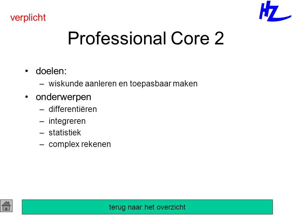 Professional Core 2 doelen: –wiskunde aanleren en toepasbaar maken onderwerpen –differentiëren –integreren –statistiek –complex rekenen verplicht terug naar het overzicht