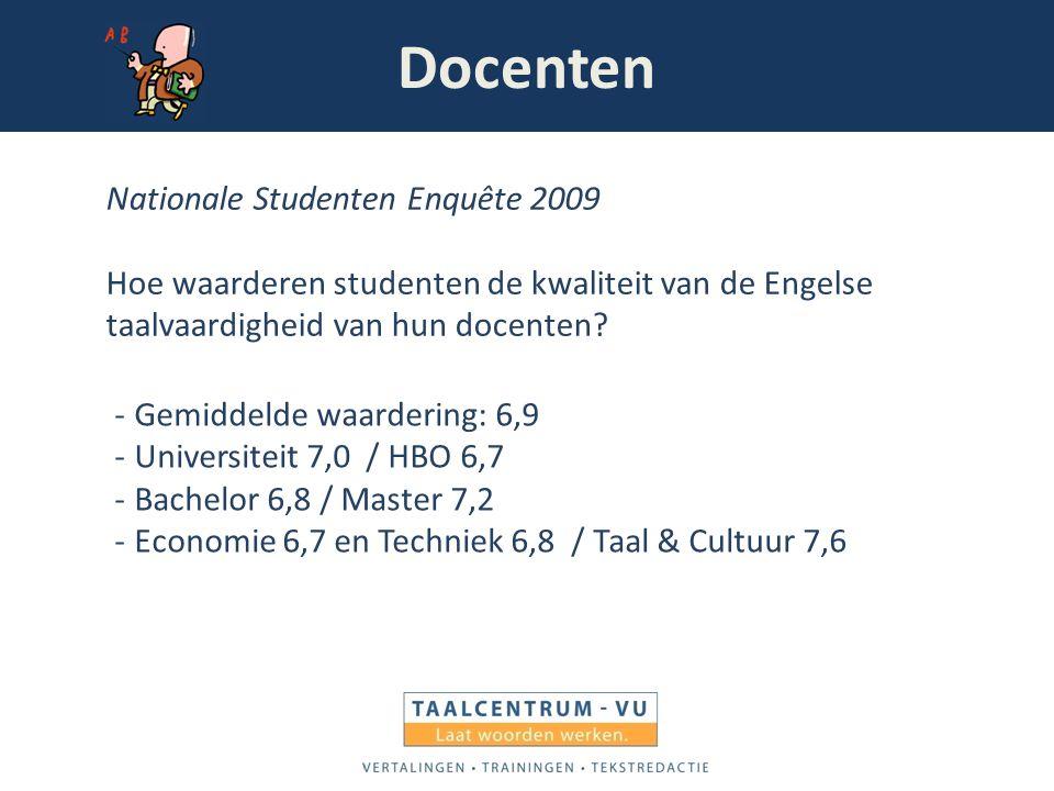 Docenten Nationale Studenten Enquête 2009 Hoe waarderen studenten de kwaliteit van de Engelse taalvaardigheid van hun docenten? -Gemiddelde waardering