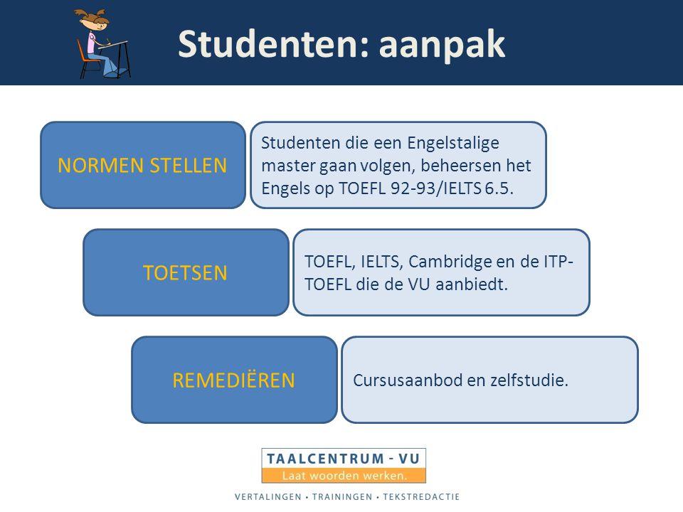 Studenten: aanpak NORMEN STELLEN TOETSEN REMEDIËREN Studenten die een Engelstalige master gaan volgen, beheersen het Engels op TOEFL 92-93/IELTS 6.5.