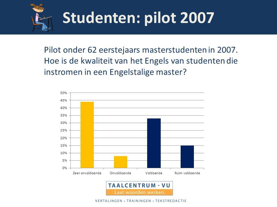 Studenten: pilot 2007 Pilot onder 62 eerstejaars masterstudenten in 2007. Hoe is de kwaliteit van het Engels van studenten die instromen in een Engels