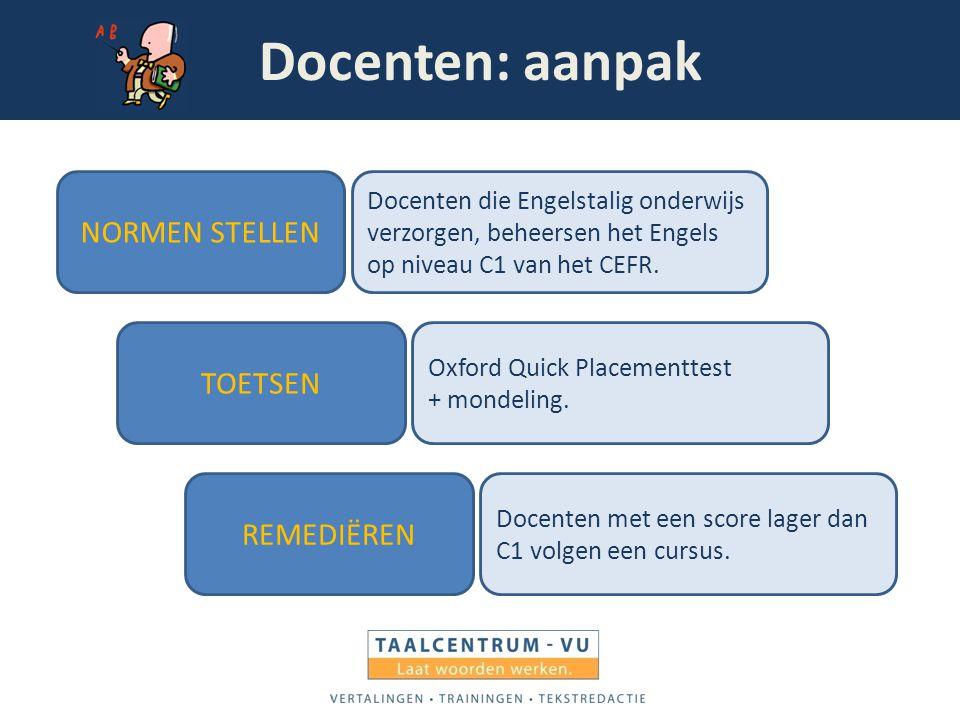 Docenten: aanpak NORMEN STELLEN TOETSEN REMEDIËREN Docenten die Engelstalig onderwijs verzorgen, beheersen het Engels op niveau C1 van het CEFR. Oxfor