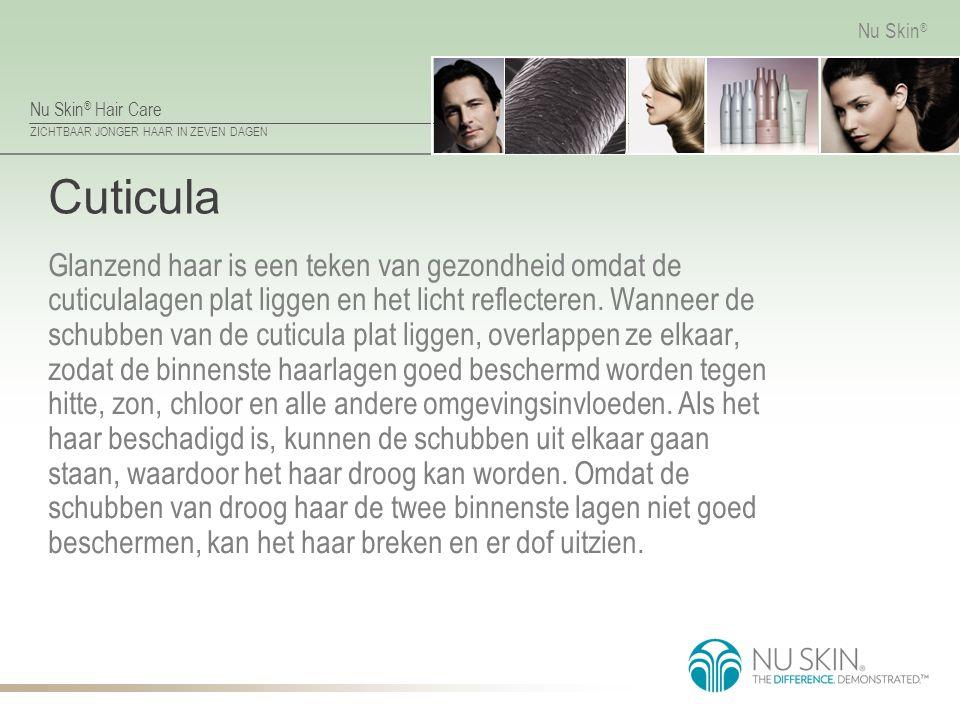 Nu Skin ® Hair Care ZICHTBAAR JONGER HAAR IN ZEVEN DAGEN Nu Skin ® Cuticula Glanzend haar is een teken van gezondheid omdat de cuticulalagen plat ligg