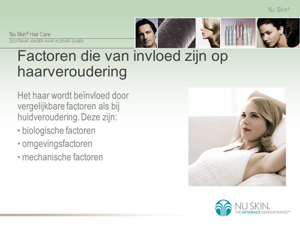 Nu Skin ® Hair Care ZICHTBAAR JONGER HAAR IN ZEVEN DAGEN Nu Skin ® Factoren die van invloed zijn op haarveroudering Het haar wordt beïnvloed door verg