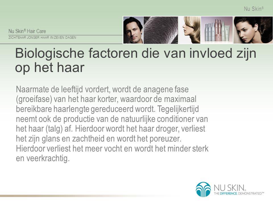 Nu Skin ® Hair Care ZICHTBAAR JONGER HAAR IN ZEVEN DAGEN Nu Skin ® Biologische factoren die van invloed zijn op het haar Naarmate de leeftijd vordert,