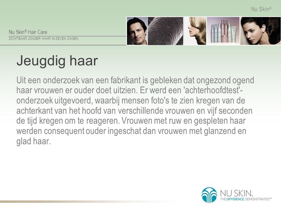 Nu Skin ® Hair Care ZICHTBAAR JONGER HAAR IN ZEVEN DAGEN Nu Skin ® Jeugdig haar Uit een onderzoek van een fabrikant is gebleken dat ongezond ogend haa
