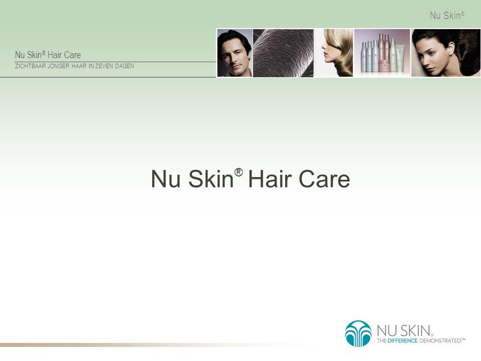 Nu Skin ® Hair Care ZICHTBAAR JONGER HAAR IN ZEVEN DAGEN Nu Skin ® Factoren die van invloed zijn op haarveroudering Het haar wordt beïnvloed door vergelijkbare factoren als bij huidveroudering.