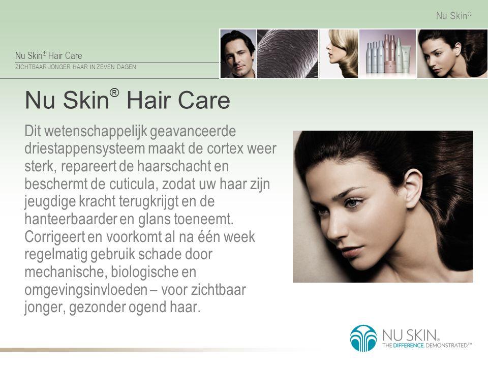 Nu Skin ® Hair Care ZICHTBAAR JONGER HAAR IN ZEVEN DAGEN Nu Skin ® Nu Skin ® Hair Care Dit wetenschappelijk geavanceerde driestappensysteem maakt de c