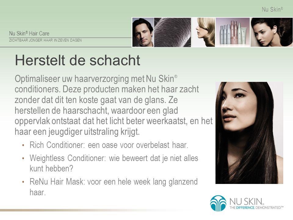 Nu Skin ® Hair Care ZICHTBAAR JONGER HAAR IN ZEVEN DAGEN Nu Skin ® Herstelt de schacht Optimaliseer uw haarverzorging met Nu Skin ® conditioners. Deze