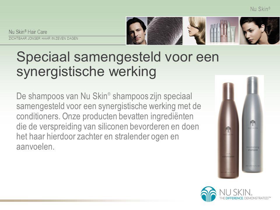 Nu Skin ® Hair Care ZICHTBAAR JONGER HAAR IN ZEVEN DAGEN Nu Skin ® Speciaal samengesteld voor een synergistische werking De shampoos van Nu Skin ® sha