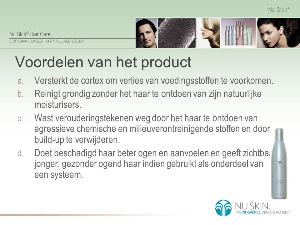 Nu Skin ® Hair Care ZICHTBAAR JONGER HAAR IN ZEVEN DAGEN Nu Skin ® Voordelen van het product a. Versterkt de cortex om verlies van voedingsstoffen te