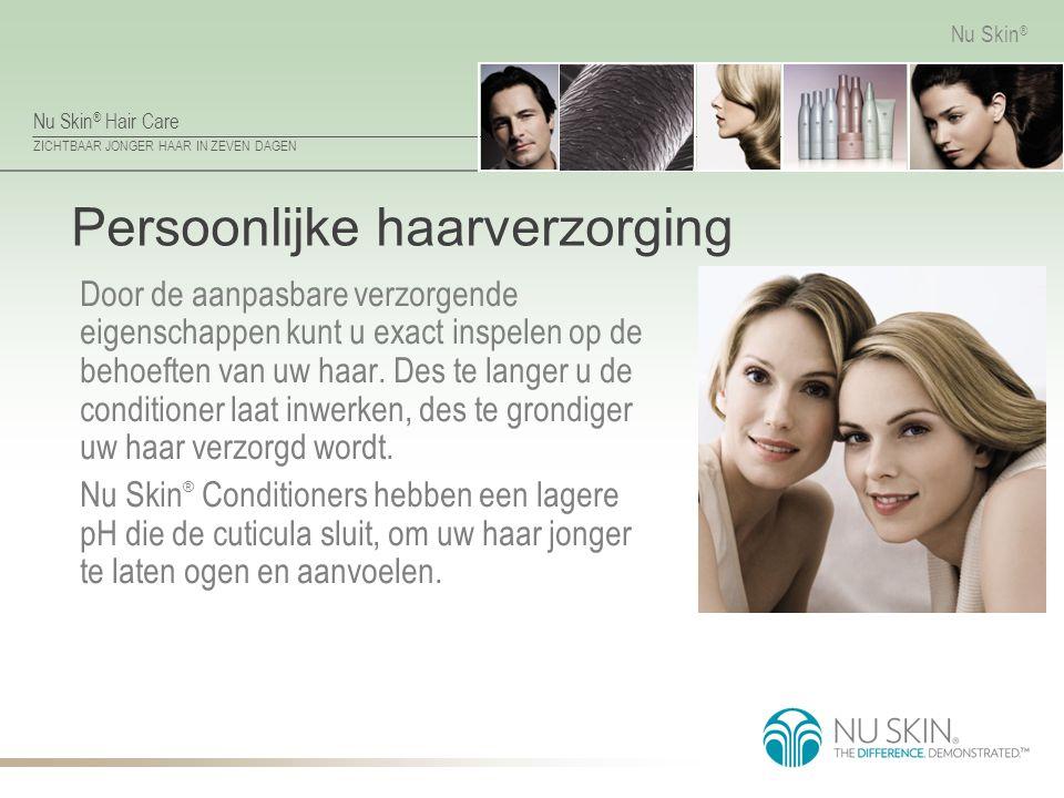 Nu Skin ® Hair Care ZICHTBAAR JONGER HAAR IN ZEVEN DAGEN Nu Skin ® Persoonlijke haarverzorging Door de aanpasbare verzorgende eigenschappen kunt u exa