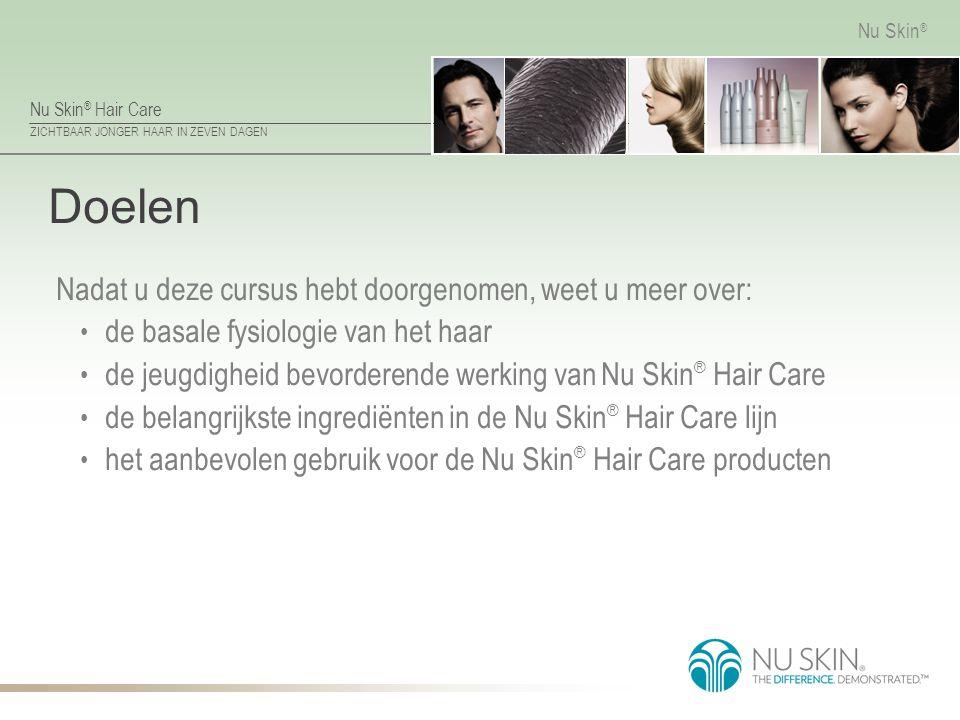 Nu Skin ® Hair Care ZICHTBAAR JONGER HAAR IN ZEVEN DAGEN Nu Skin ® Doelen Nadat u deze cursus hebt doorgenomen, weet u meer over: de basale fysiologie