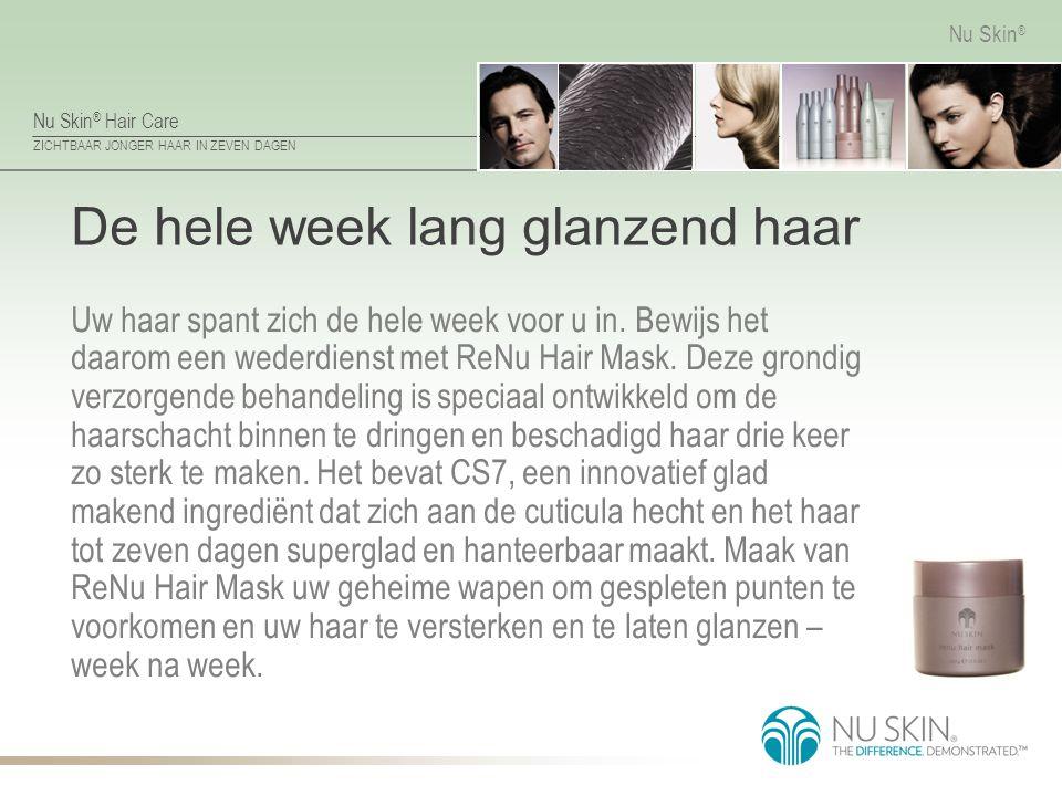 Nu Skin ® Hair Care ZICHTBAAR JONGER HAAR IN ZEVEN DAGEN Nu Skin ® De hele week lang glanzend haar Uw haar spant zich de hele week voor u in. Bewijs h