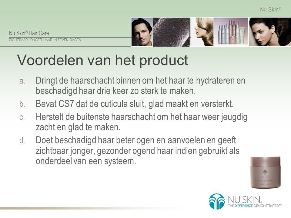 Nu Skin ® Hair Care ZICHTBAAR JONGER HAAR IN ZEVEN DAGEN Nu Skin ® Voordelen van het product a. Dringt de haarschacht binnen om het haar te hydrateren