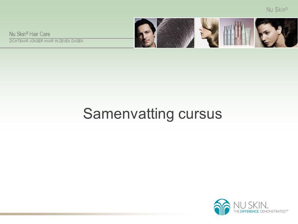 Nu Skin ® Hair Care ZICHTBAAR JONGER HAAR IN ZEVEN DAGEN Nu Skin ® ReNu Hair Mask Belangrijkste ingrediënten Creatine – verbetert de elasticiteit van de cortex.