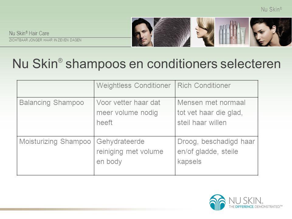 Nu Skin ® Hair Care ZICHTBAAR JONGER HAAR IN ZEVEN DAGEN Nu Skin ® Nu Skin ® shampoos en conditioners selecteren Weightless ConditionerRich Conditione