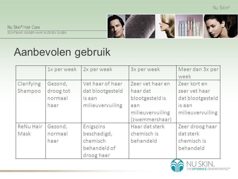 Nu Skin ® Hair Care ZICHTBAAR JONGER HAAR IN ZEVEN DAGEN Nu Skin ® Aanbevolen gebruik 1x per week2x per week3x per weekMeer dan 3x per week Clarifying