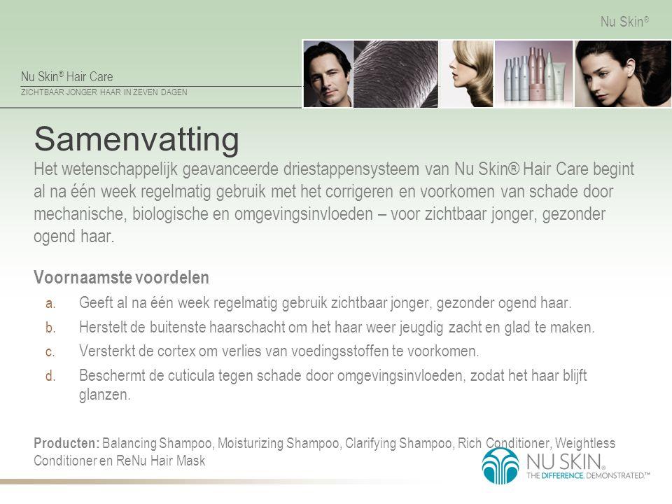 Nu Skin ® Hair Care ZICHTBAAR JONGER HAAR IN ZEVEN DAGEN Nu Skin ® Samenvatting Het wetenschappelijk geavanceerde driestappensysteem van Nu Skin® Hair