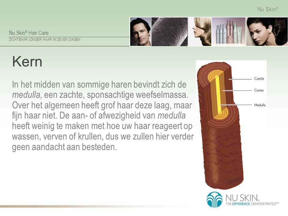 Nu Skin ® Hair Care ZICHTBAAR JONGER HAAR IN ZEVEN DAGEN Nu Skin ® Cortex De haarkern wordt omgeven door de cortex (haarschors), die verantwoordelijk is voor de speciale eigenschappen van het haar, zoals elasticiteit en krul.