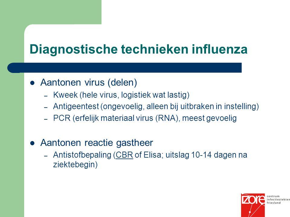 Diagnostische technieken influenza Aantonen virus (delen) – Kweek (hele virus, logistiek wat lastig) – Antigeentest (ongevoelig, alleen bij uitbraken