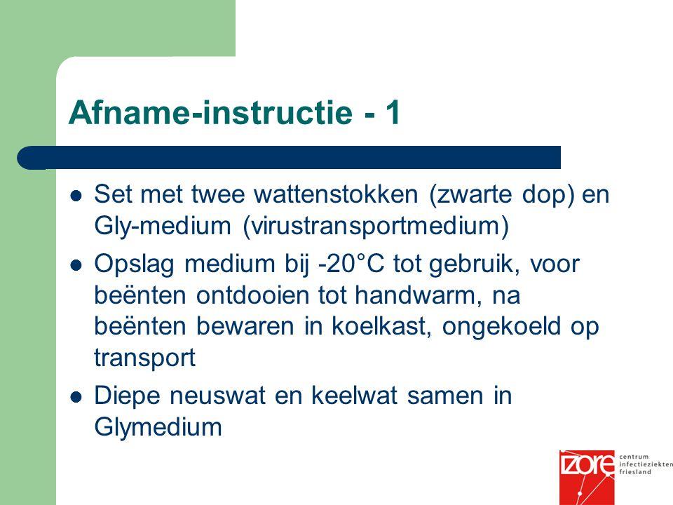Afname-instructie - 1 Set met twee wattenstokken (zwarte dop) en Gly-medium (virustransportmedium) Opslag medium bij -20°C tot gebruik, voor beënten o