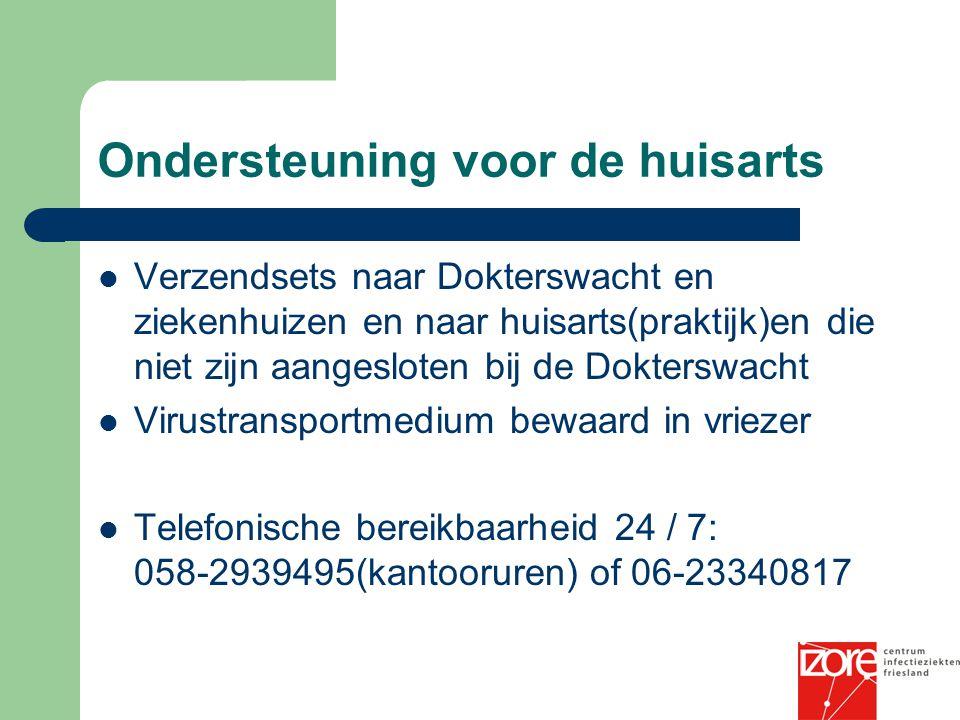 Ondersteuning voor de huisarts Verzendsets naar Dokterswacht en ziekenhuizen en naar huisarts(praktijk)en die niet zijn aangesloten bij de Dokterswach