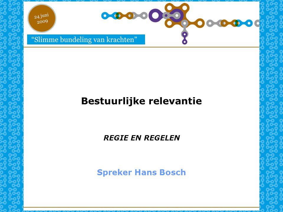 Bestuurlijke relevantie REGIE EN REGELEN Spreker Hans Bosch