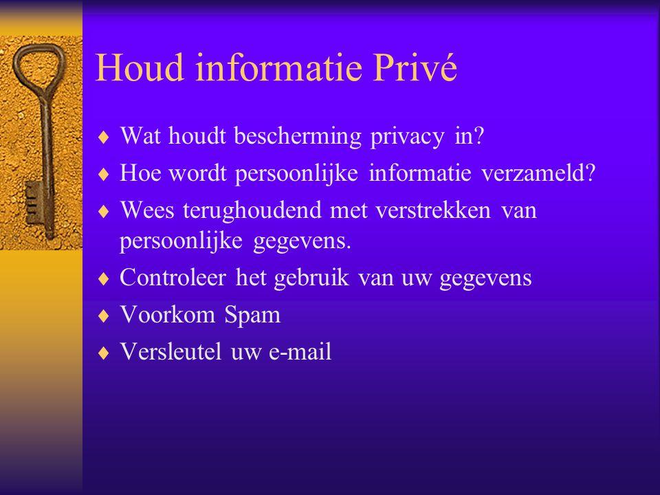 Houd informatie Privé  Wat houdt bescherming privacy in?  Hoe wordt persoonlijke informatie verzameld?  Wees terughoudend met verstrekken van perso