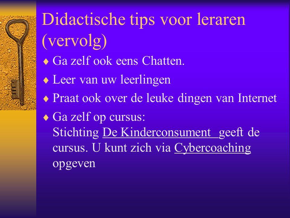 Didactische tips voor leraren (vervolg)  Ga zelf ook eens Chatten.  Leer van uw leerlingen  Praat ook over de leuke dingen van Internet  Ga zelf o