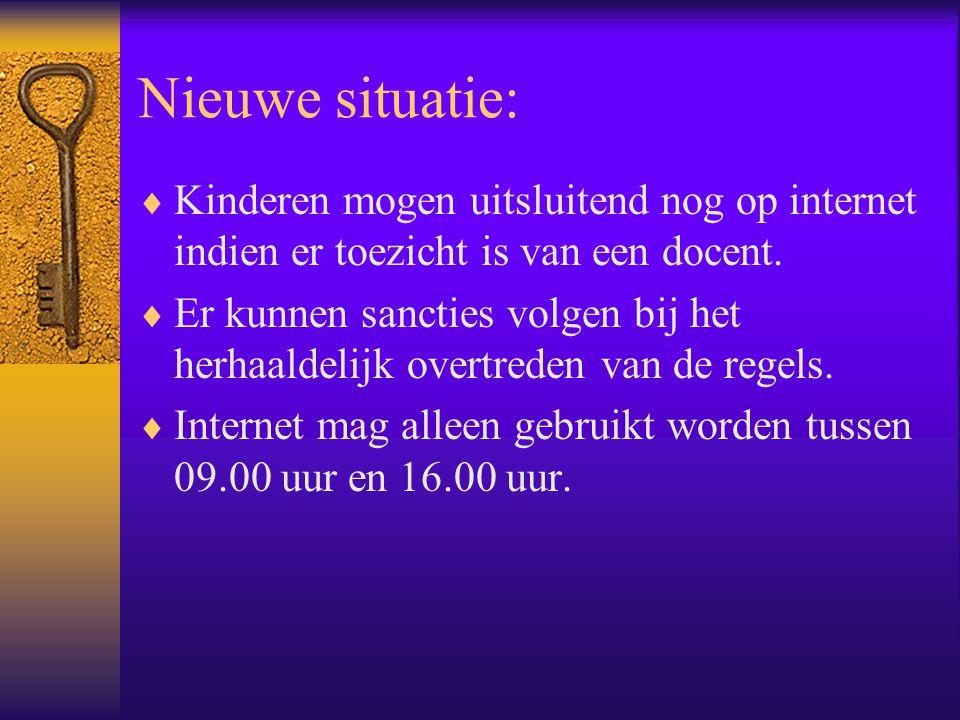 Nieuwe situatie:  Kinderen mogen uitsluitend nog op internet indien er toezicht is van een docent.  Er kunnen sancties volgen bij het herhaaldelijk