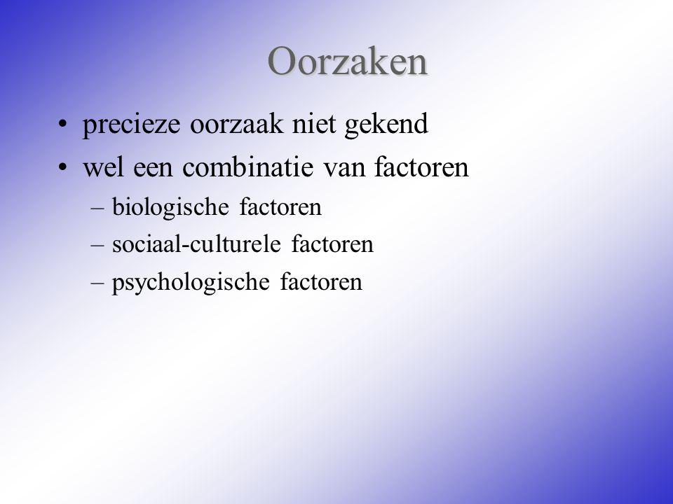 Oorzaken precieze oorzaak niet gekend wel een combinatie van factoren –biologische factoren –sociaal-culturele factoren –psychologische factoren