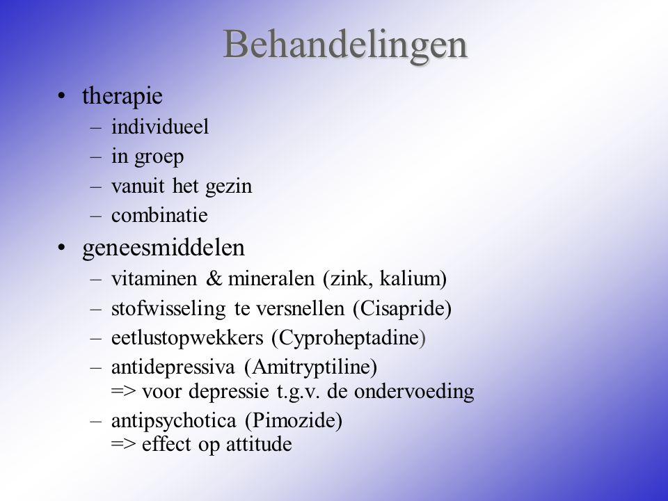 Behandelingen therapie –individueel –in groep –vanuit het gezin –combinatie geneesmiddelen –vitaminen & mineralen (zink, kalium) –stofwisseling te ver