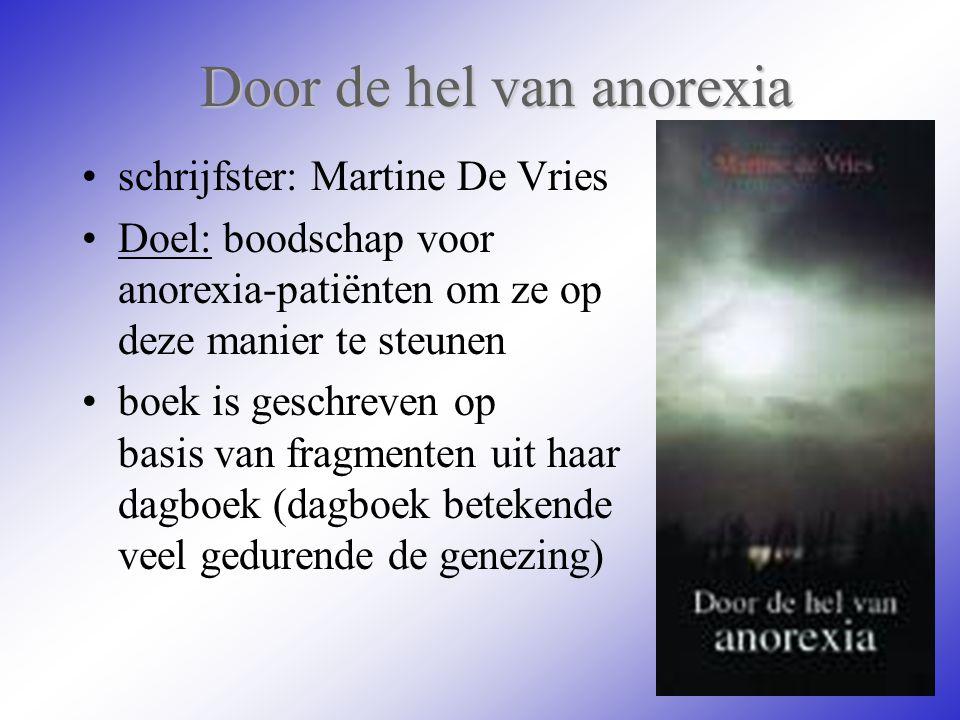 Door de hel van anorexia schrijfster: Martine De Vries Doel: boodschap voor anorexia-patiënten om ze op deze manier te steunen boek is geschreven op b
