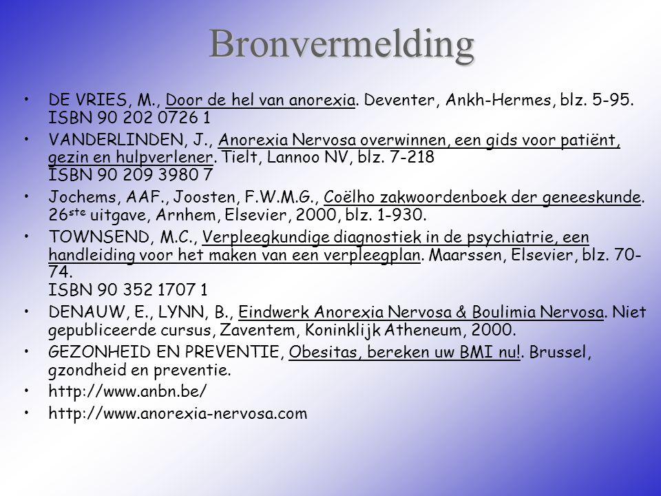 Bronvermelding DE VRIES, M., Door de hel van anorexia. Deventer, Ankh-Hermes, blz. 5-95. ISBN 90 202 0726 1 VANDERLINDEN, J., Anorexia Nervosa overwin