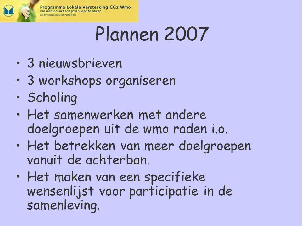 Plannen 2007 3 nieuwsbrieven 3 workshops organiseren Scholing Het samenwerken met andere doelgroepen uit de wmo raden i.o.