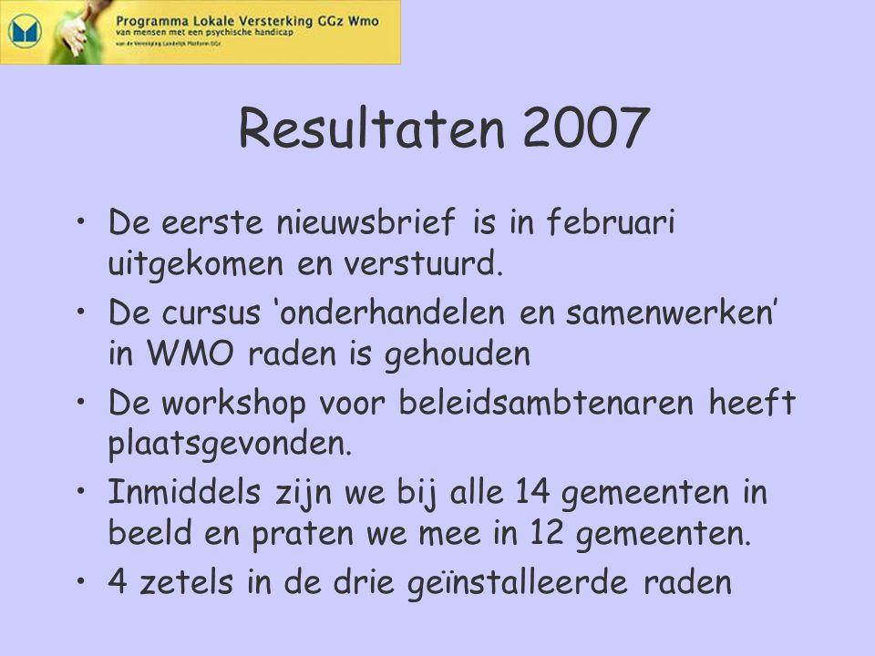 Resultaten 2007 De eerste nieuwsbrief is in februari uitgekomen en verstuurd.