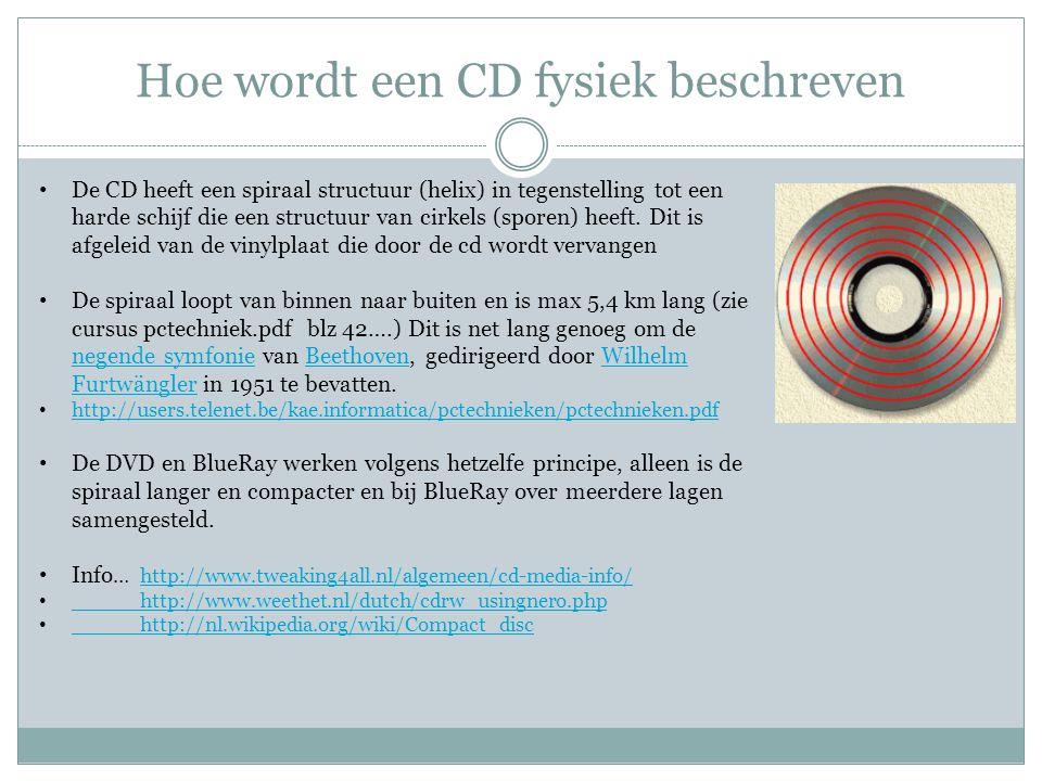Hoe wordt een CD fysiek beschreven De CD heeft een spiraal structuur (helix) in tegenstelling tot een harde schijf die een structuur van cirkels (spor
