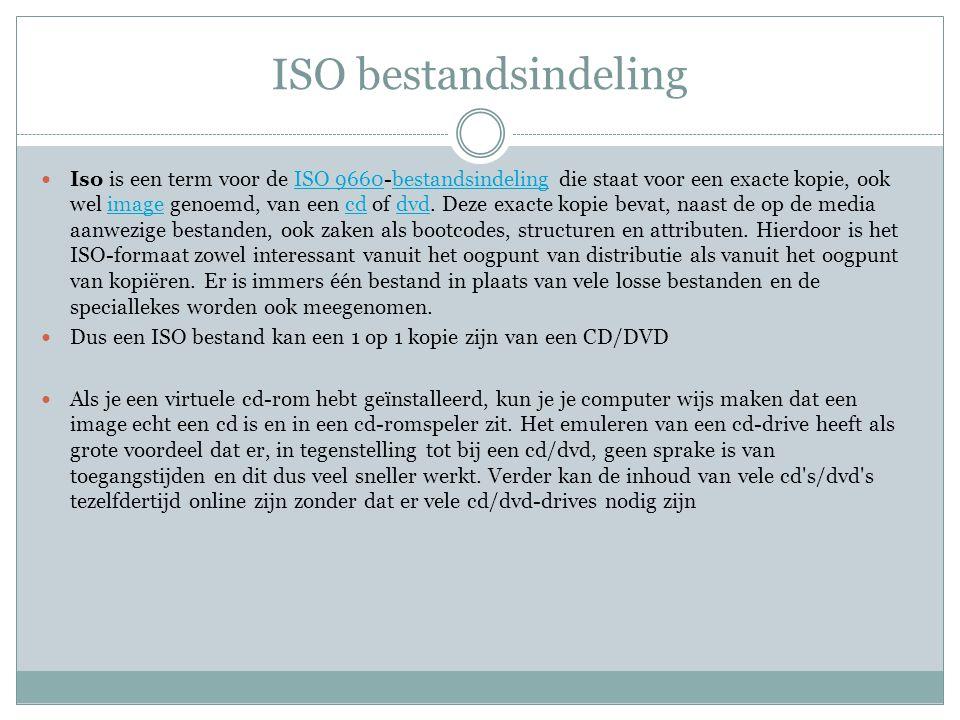ISO bestandsindeling Iso is een term voor de ISO 9660-bestandsindeling die staat voor een exacte kopie, ook wel image genoemd, van een cd of dvd. Deze