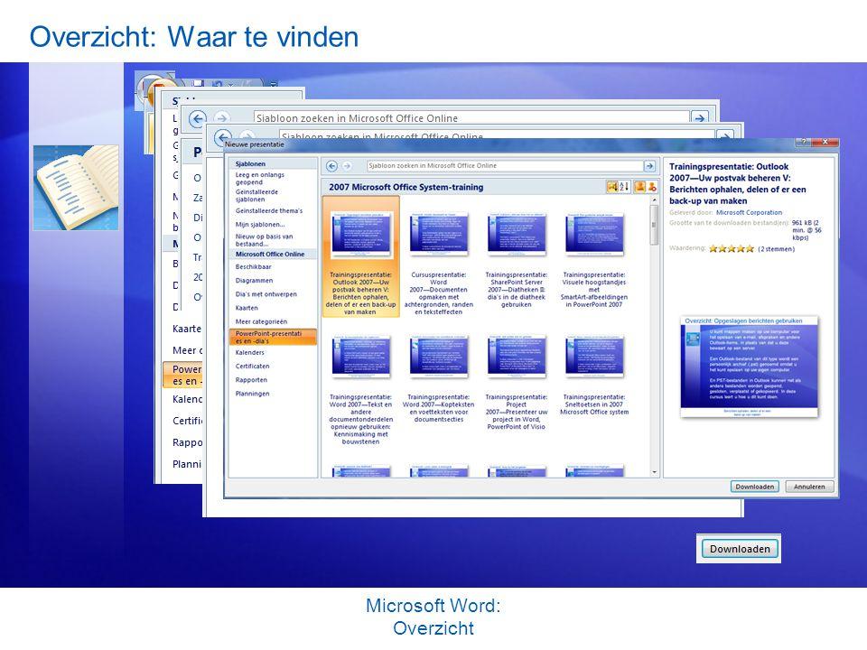 Overzicht: Waar te vinden Microsoft Word: Overzicht http://www.gratiscursus.be/