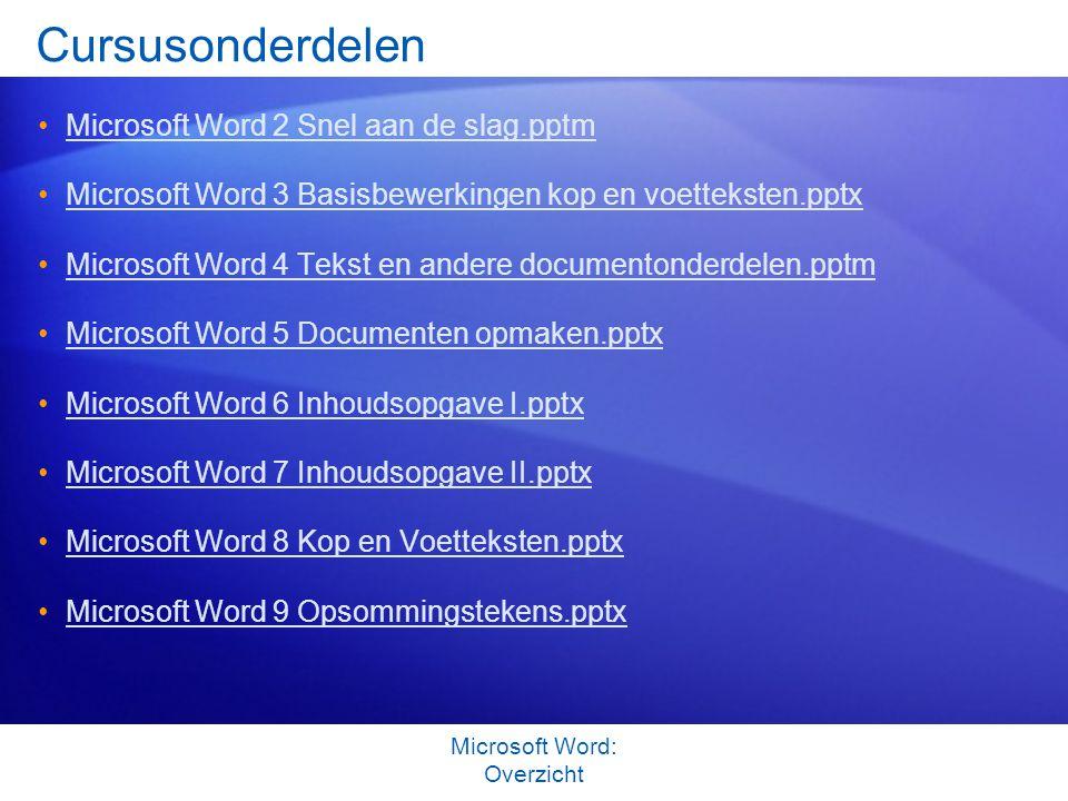 Cursusonderdelen Microsoft Word 2 Snel aan de slag.pptm Microsoft Word 3 Basisbewerkingen kop en voetteksten.pptx Microsoft Word 4 Tekst en andere doc