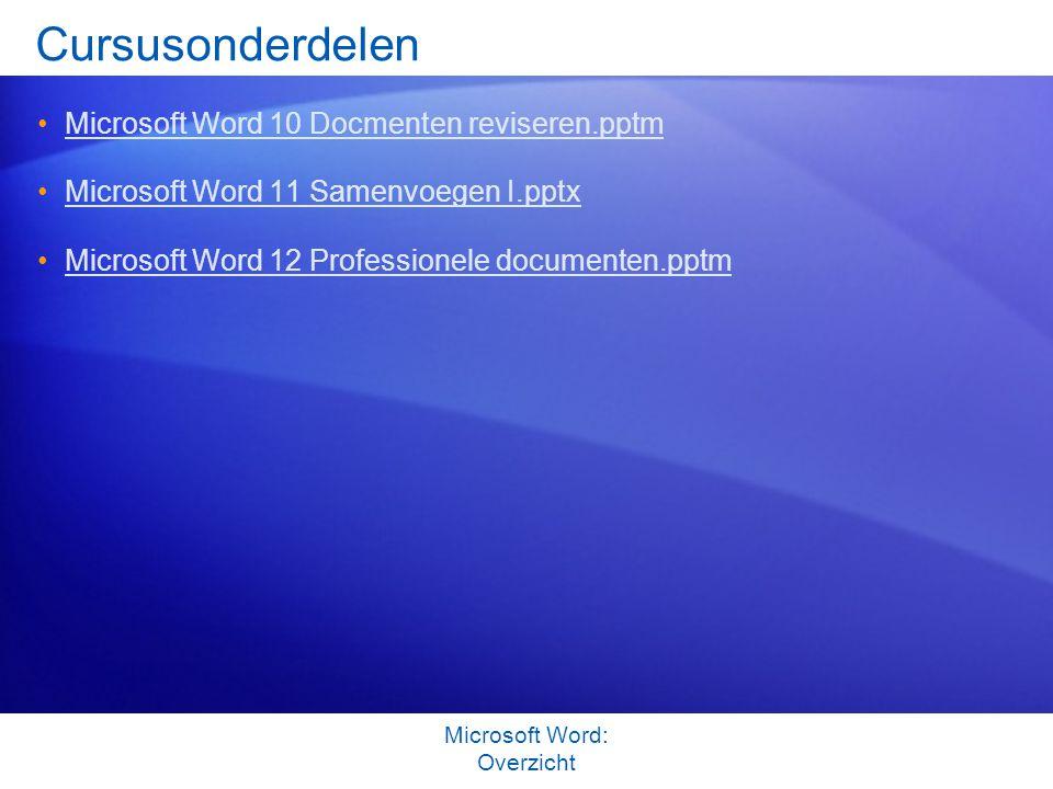 Cursusonderdelen Microsoft Word 10 Docmenten reviseren.pptm Microsoft Word 11 Samenvoegen I.pptx Microsoft Word 12 Professionele documenten.pptm Micro