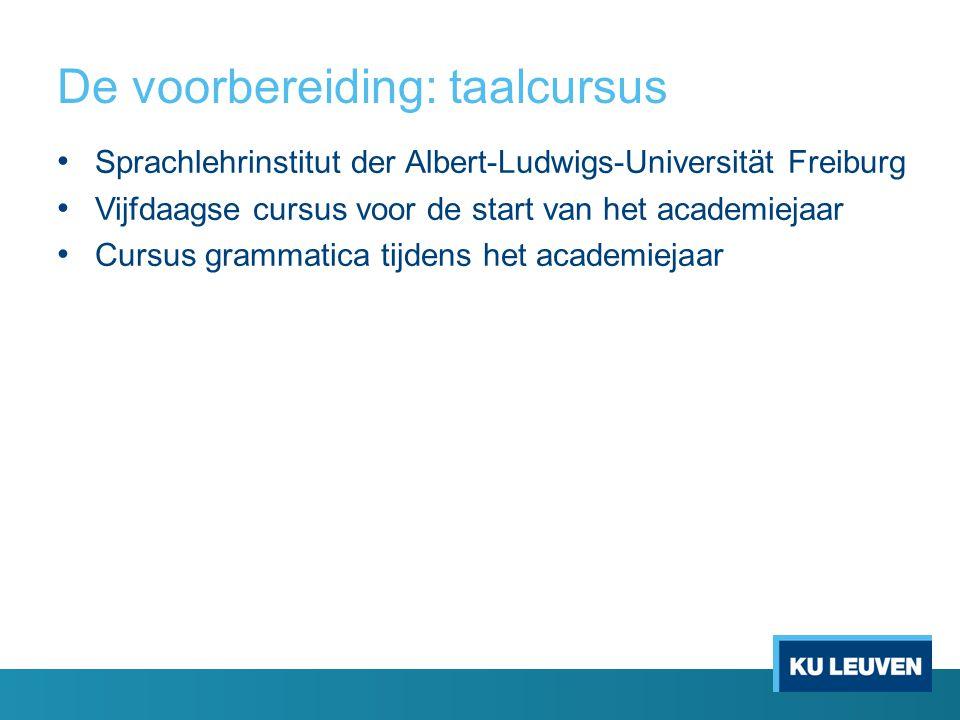 De voorbereiding: taalcursus Sprachlehrinstitut der Albert-Ludwigs-Universität Freiburg Vijfdaagse cursus voor de start van het academiejaar Cursus grammatica tijdens het academiejaar