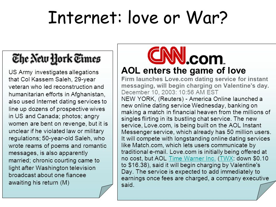 2 Internet: love or War.