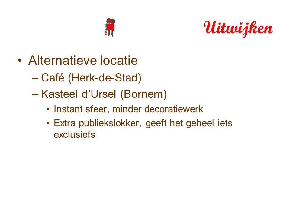 Uitwijken Alternatieve locatie –Café (Herk-de-Stad) –Kasteel d'Ursel (Bornem) Instant sfeer, minder decoratiewerk Extra publiekslokker, geeft het geheel iets exclusiefs