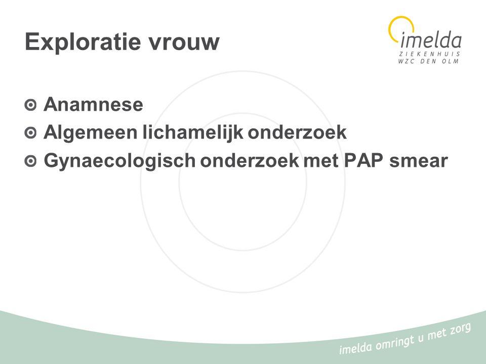 Exploratie vrouw Anamnese Algemeen lichamelijk onderzoek Gynaecologisch onderzoek met PAP smear