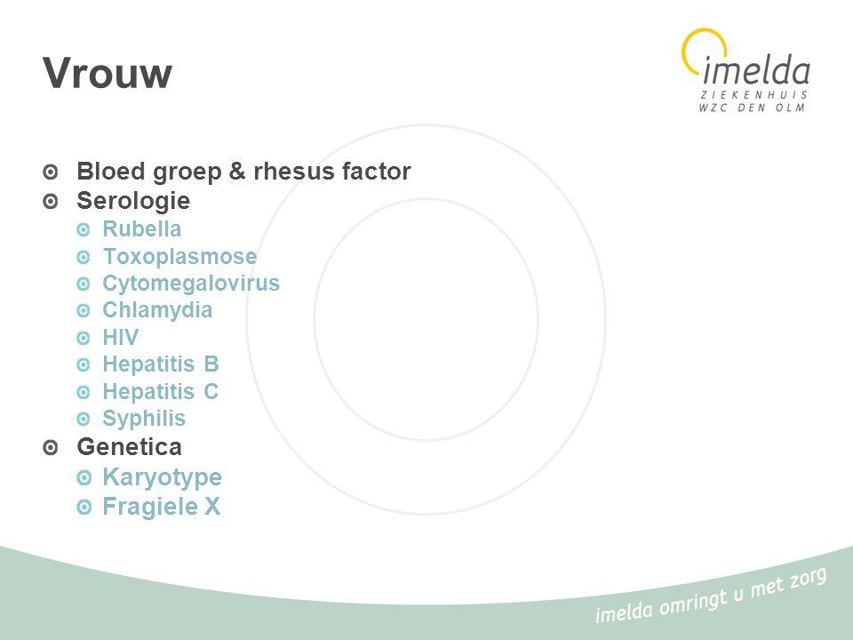 Vrouw Bloed groep & rhesus factor Serologie Rubella Toxoplasmose Cytomegalovirus Chlamydia HIV Hepatitis B Hepatitis C Syphilis Genetica Karyotype Fra