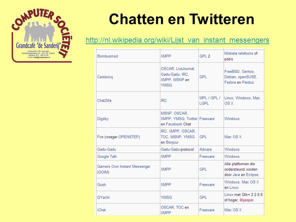 Chatten en Twitteren http://nl.wikipedia.org/wiki/Lijst_van_instant_messengers