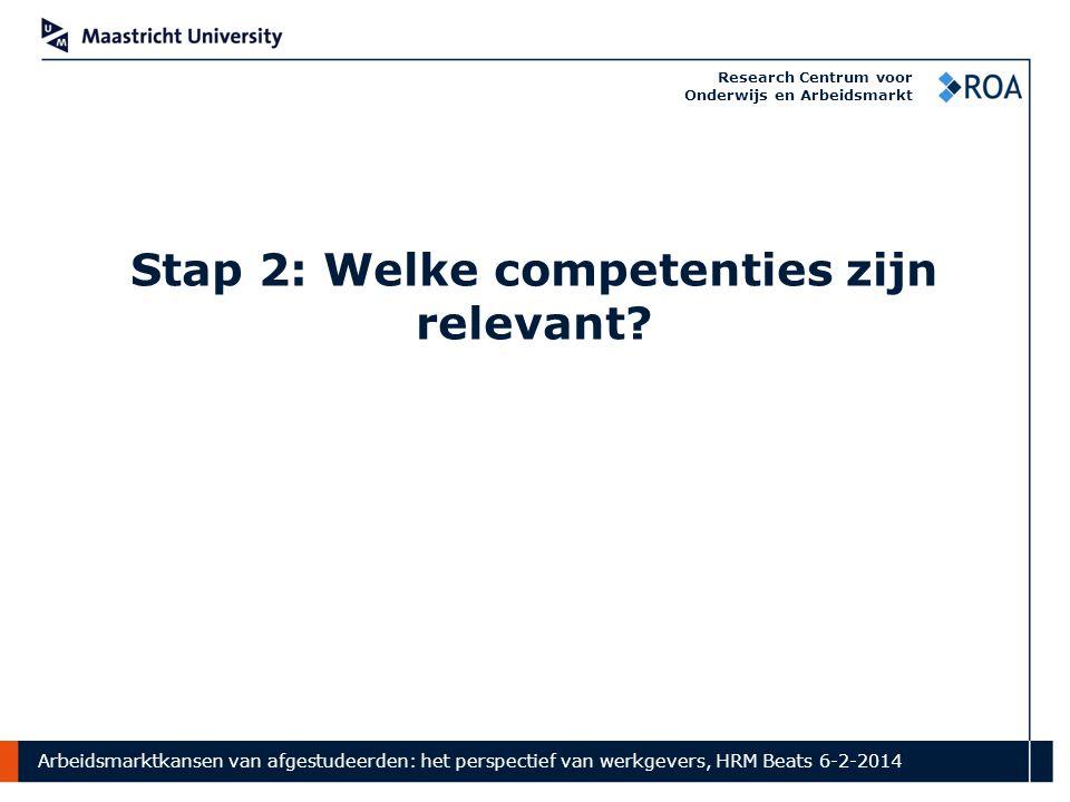 Arbeidsmarktkansen van afgestudeerden: het perspectief van werkgevers, HRM Beats 6-2-2014 Research Centrum voor Onderwijs en Arbeidsmarkt Stap 2: Welke competenties zijn relevant