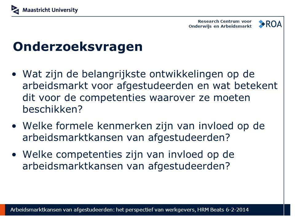 Arbeidsmarktkansen van afgestudeerden: het perspectief van werkgevers, HRM Beats 6-2-2014 Research Centrum voor Onderwijs en Arbeidsmarkt Onderzoeksvr