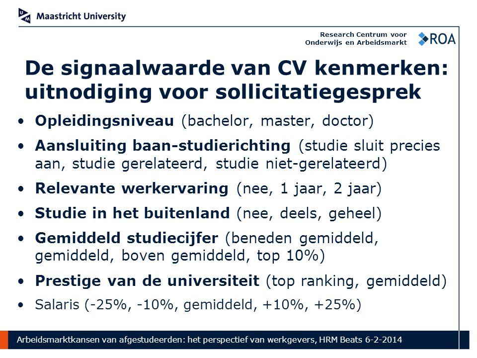Arbeidsmarktkansen van afgestudeerden: het perspectief van werkgevers, HRM Beats 6-2-2014 Research Centrum voor Onderwijs en Arbeidsmarkt De signaalwa